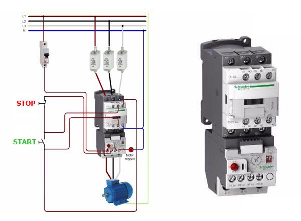 Contactor (Khởi động từ) kết hợp Rơ le nhiệt điều khiển động cơ
