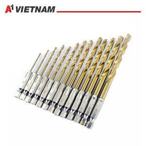 bộ 13 mũi khoan xoắn chuôi lục giác phủ titanium 1.5-6.5mm chính hãng ,giá tốt nhất